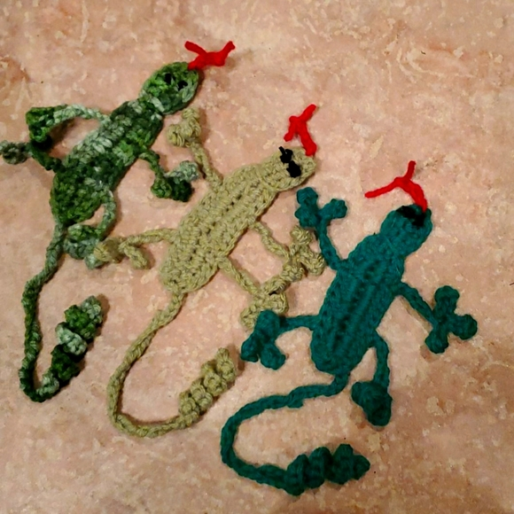 3 Handmade Gecko Bookmarks
